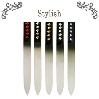crystal glass nail files with crystals