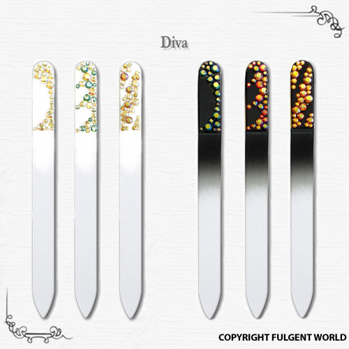 decorated crystal glass nail files