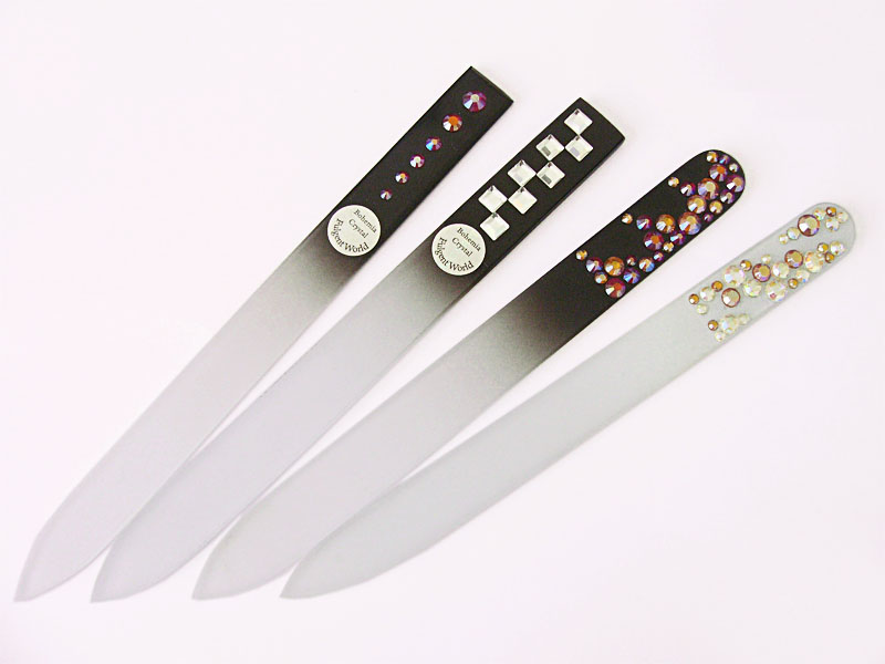 Crystal glass nail files decorated
